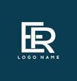 blue white er initial letter logo template vector image vector image