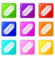 bun and sausage icons 9 set vector image vector image