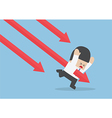 Businessman stabbed by downtrend arrow vector image vector image