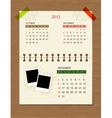 calendar2012 december vector image vector image