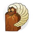 cartoon woodworm destruct wood vector image vector image