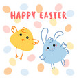 chicken and barabbit with egg background vector image
