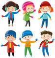 children in winter clothes vector image