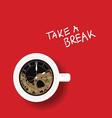 clock in cup of coffee vector image vector image