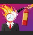 clock on businessman head in fire vector image