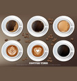 coffee cup set collection realistic vector image vector image