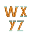 Colorful alphabet letters wxyz vector image vector image