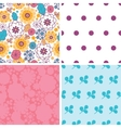 colorful oriental flowers set of four vector image
