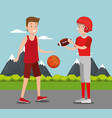 couple athletes practicing sports vector image vector image