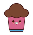 cupcake sweet dessert kawaii cute cartoon vector image vector image