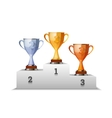 Cups of winners award on white podium vector image vector image