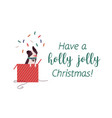 cute dog border collie in red giftbox flat vector image