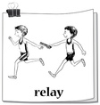 Doodle athletes running relay vector image vector image
