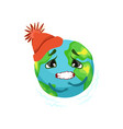 earth planet character in red hat trembling cute vector image vector image