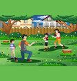 family playing baseball outdoor vector image vector image