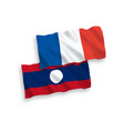 flags france and laos on a white background vector image