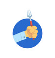 hand holding fork kitchen tool food concept vector image