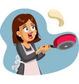 happy female home cook flipping pancake for vector image