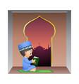 happy muslim boy reading quran book in mosque vector image