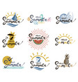 hello summer lettering set vector image vector image