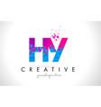 hy h y letter logo with shattered broken blue vector image vector image