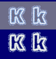 letter k on grey and blue background vector image vector image