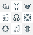 multimedia icons line style set with speaker vector image vector image