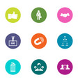 press icons set flat style vector image