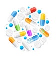 realistic detailed 3d pills and tablets round vector image vector image