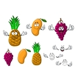 Ripe grape mango and pineapple fruits vector image vector image