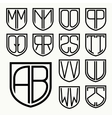 Set 2 of template letters inscribed in the shield vector image vector image