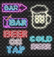 set of glowing bar neon signs vector image vector image