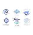 set optics eye care logos cartoon vector image