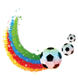 Soccer bals and rainbow trail vector image