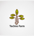 techno farm with green leaf logo concept icon vector image vector image