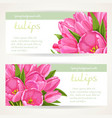 two horizontal spring banners with pink tulips on vector image vector image
