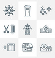 urban icons line style set with bakery school vector image