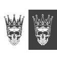 Vintage monochrome skull with crown isolated