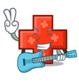with guitar cross mascot cartoon style vector image vector image