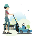 Women use the mower vector image