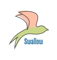 Abstract silhouette of flying swallow bird vector image vector image