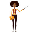 african american teacher with a pointer vector image vector image