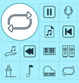 audio icons set with piano repeat loudspeakers vector image vector image