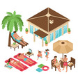 beach relax isometric collection vector image vector image