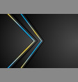 black abstract tech background with neon lines vector image