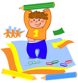 Boy drawing and playing with paper vector image vector image