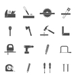 Carpentry tools black icons set vector image