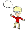 cartoon waving cool guy with thought bubble vector image