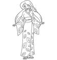 Caucasian Woman In Kimono Coloring Page vector image vector image