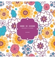 colorful oriental flowers frame seamless vector image